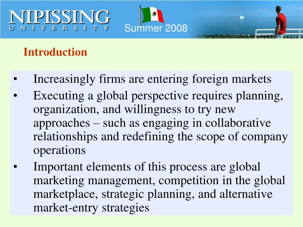 strategic approach to entering foreign markets With so many options for international market entry, it can be difficult for a company to decide on the strategy that will meet its strategic objectives with the most success this is why strategic planning is so important different markets and industries will require a different approach to.