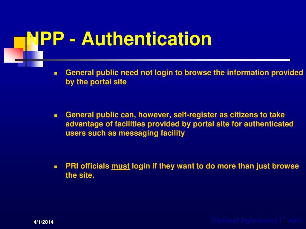 NPP - Authentication