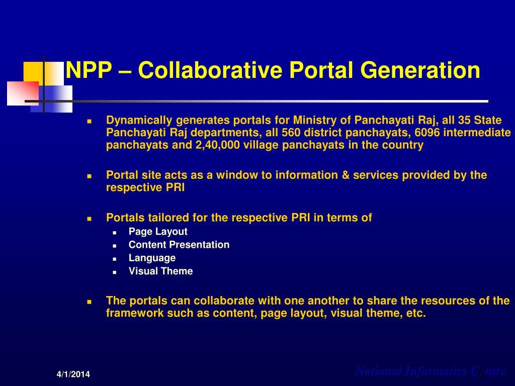 NPP – Collaborative Portal Generation
