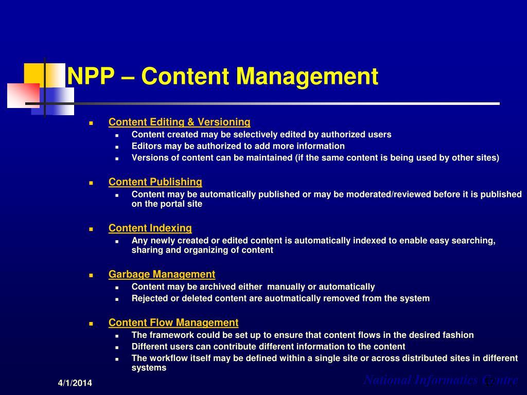NPP – Content Management