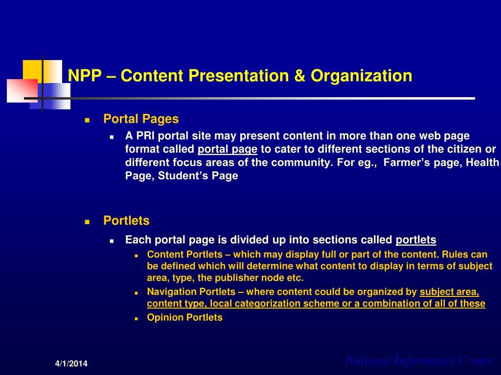 NPP – Content Presentation & Organization
