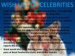 wish list of celebrities