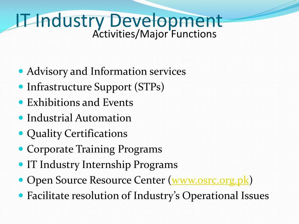 Activities/Major Functions