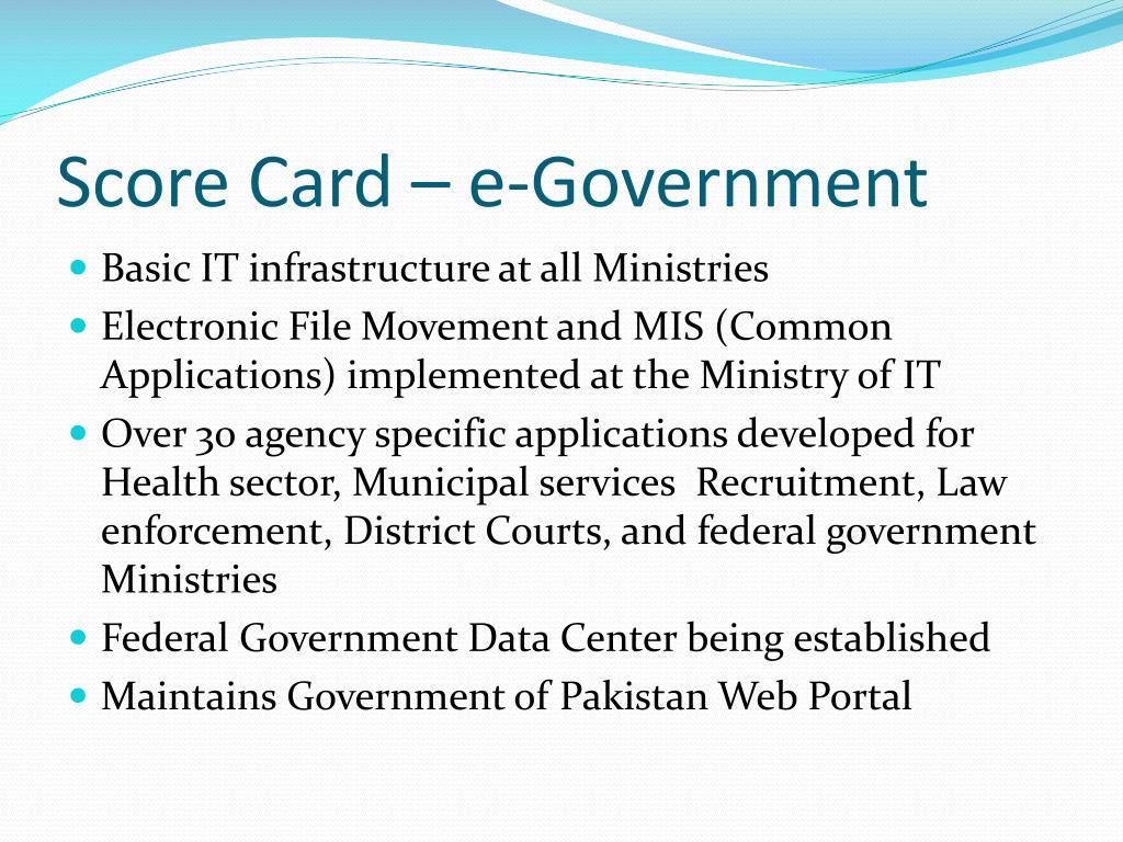 Score Card – e-Government