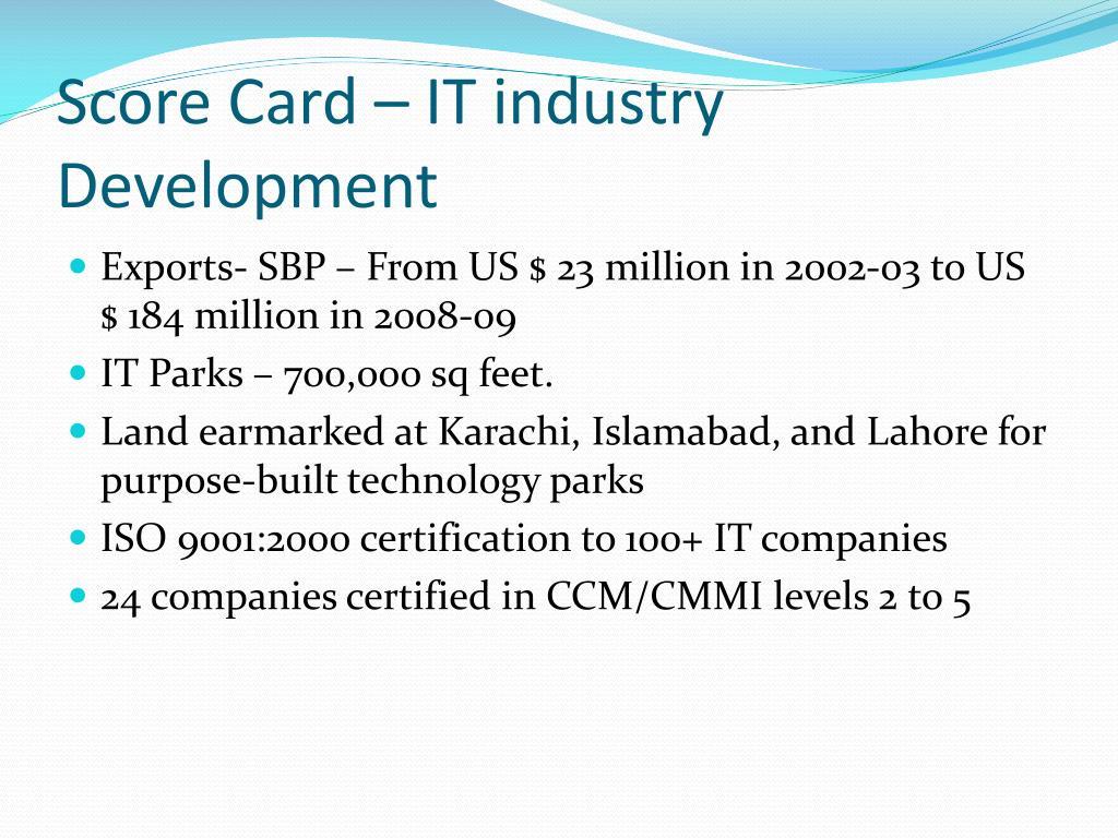 Score Card – IT industry Development