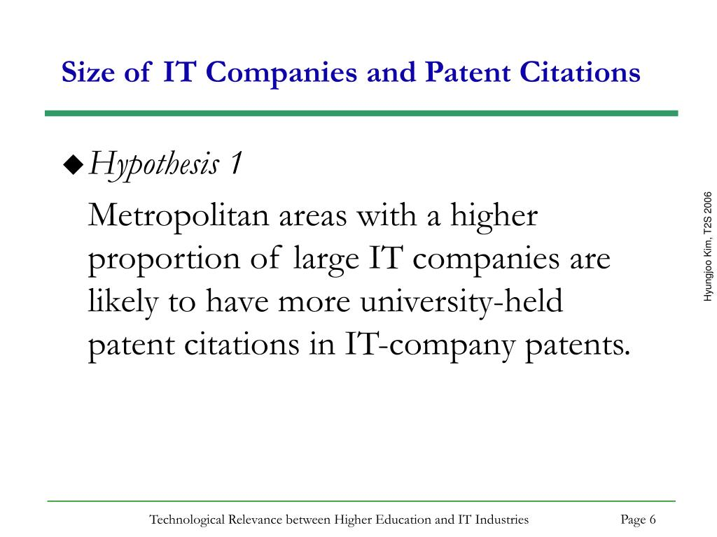 Size of IT Companies and Patent Citations