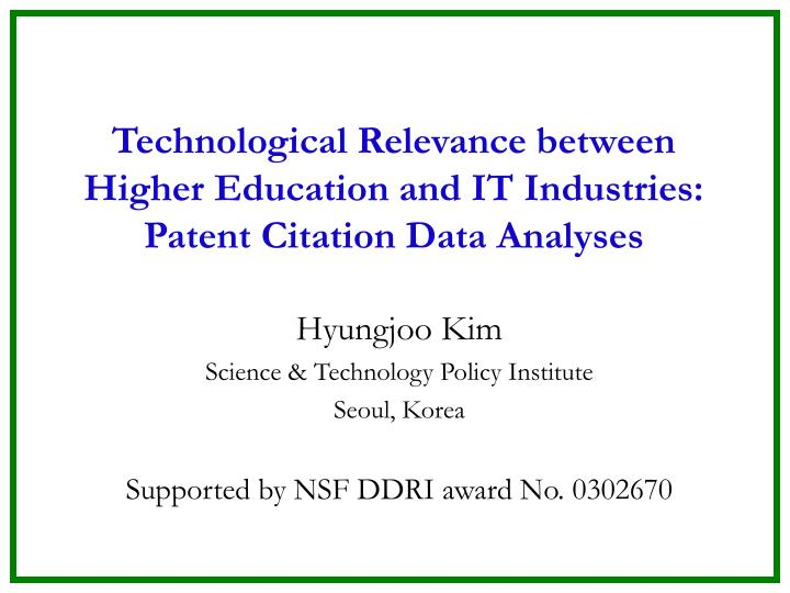 Technological relevance between higher education and it industries patent citation data analyses