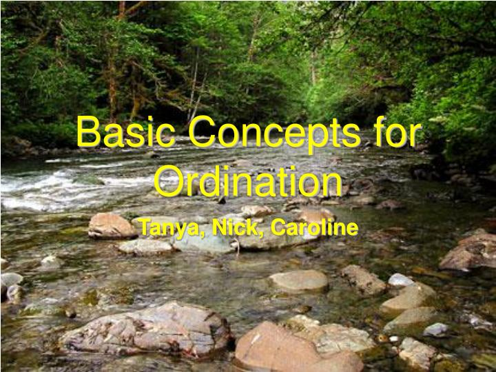Basic concepts for ordination