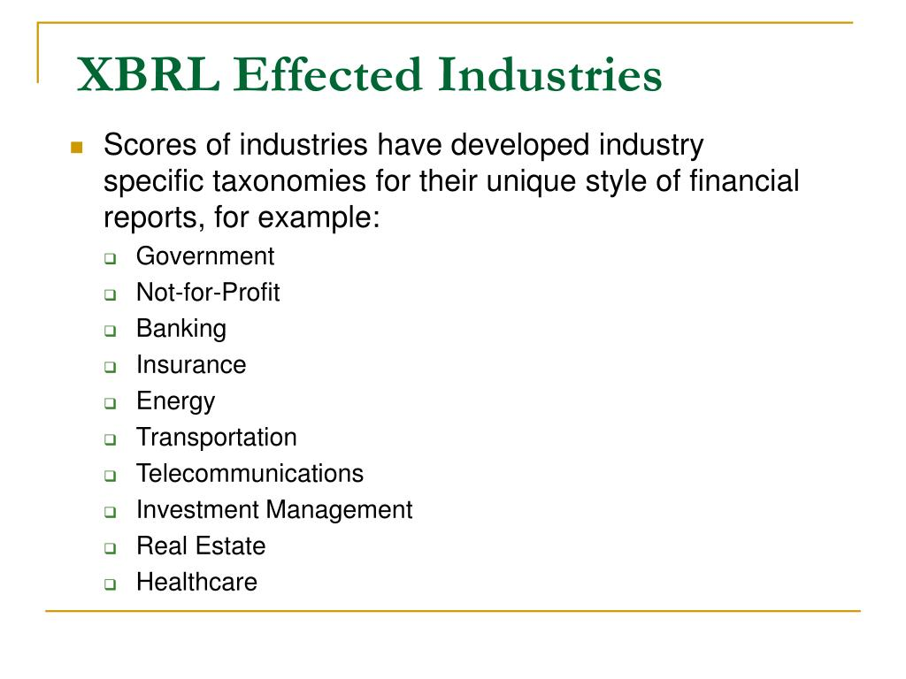 XBRL Effected Industries
