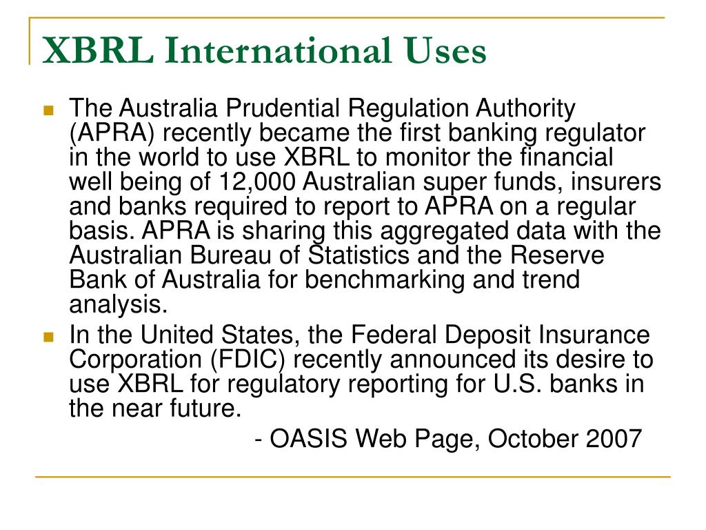XBRL International Uses