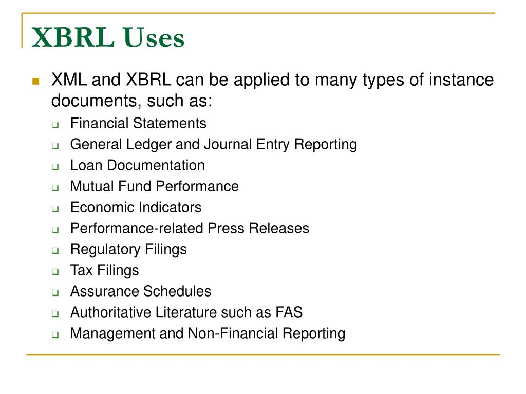 XBRL Uses