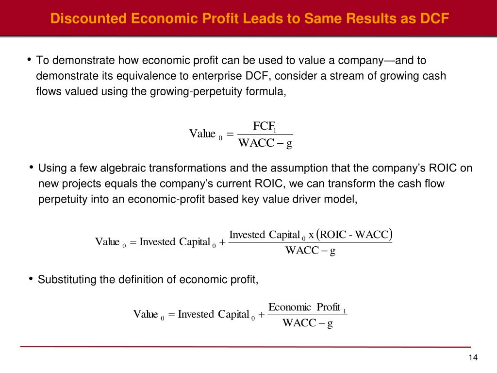 Discounted Economic Profit Leads to Same Results as DCF