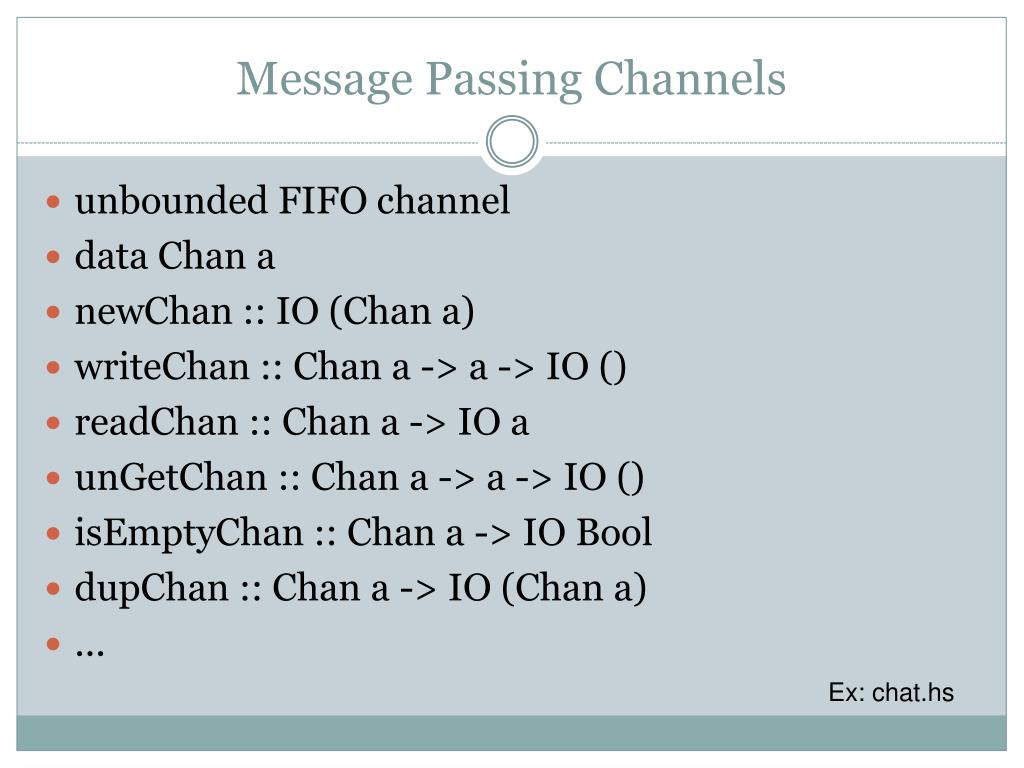 Message Passing Channels