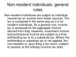 non resident individuals general rules