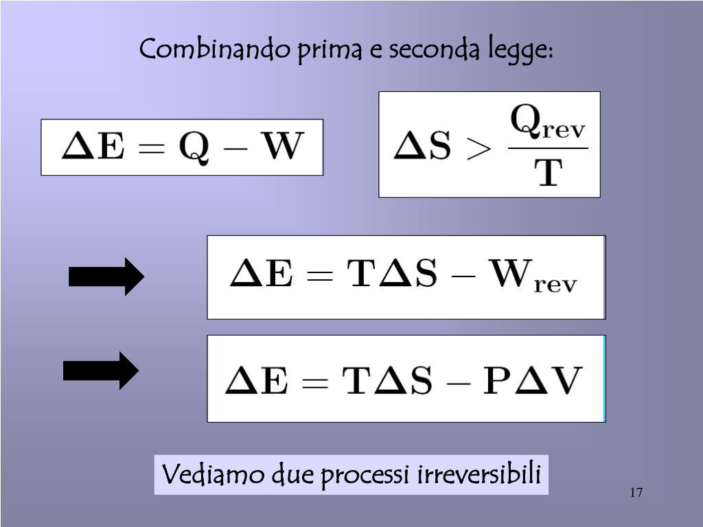 Combinando prima e seconda legge: