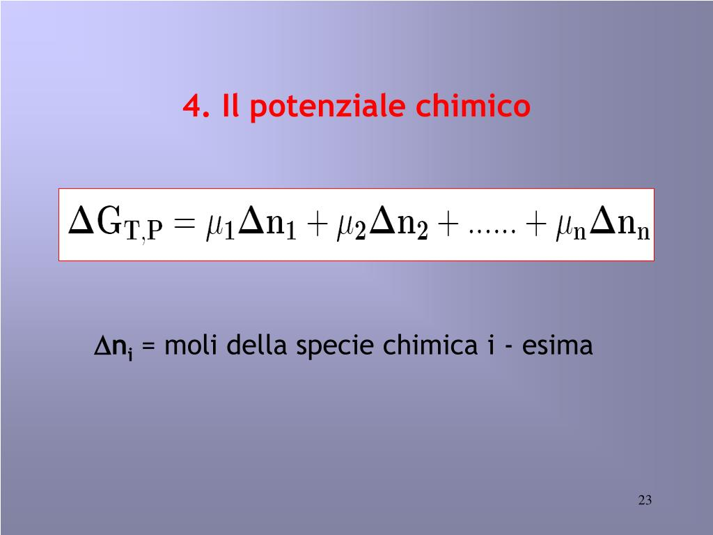4. Il potenziale chimico