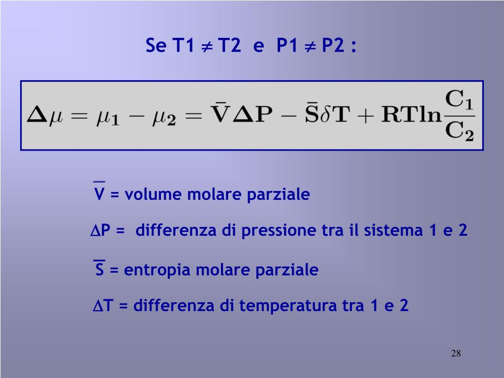 V = volume molare parziale
