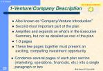 1 venture company description