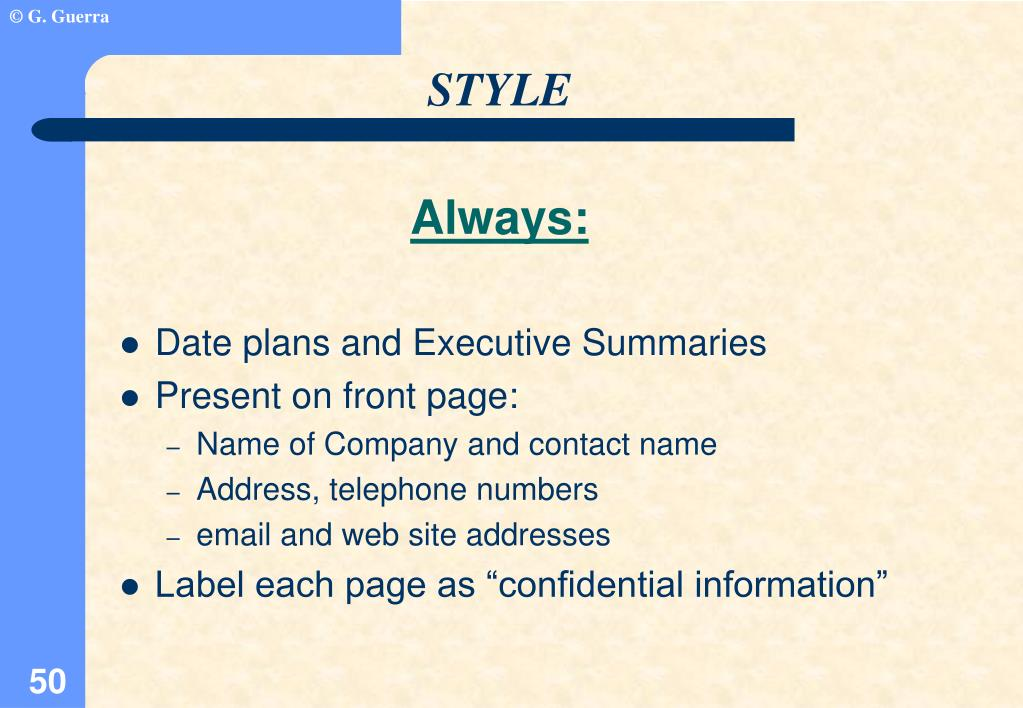 Date plans and Executive Summaries