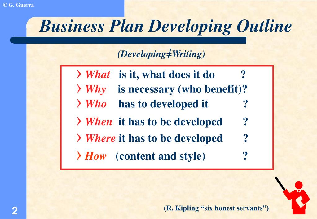 Business Plan Developing Outline