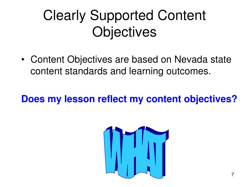 Clearly Supported Content Objectives