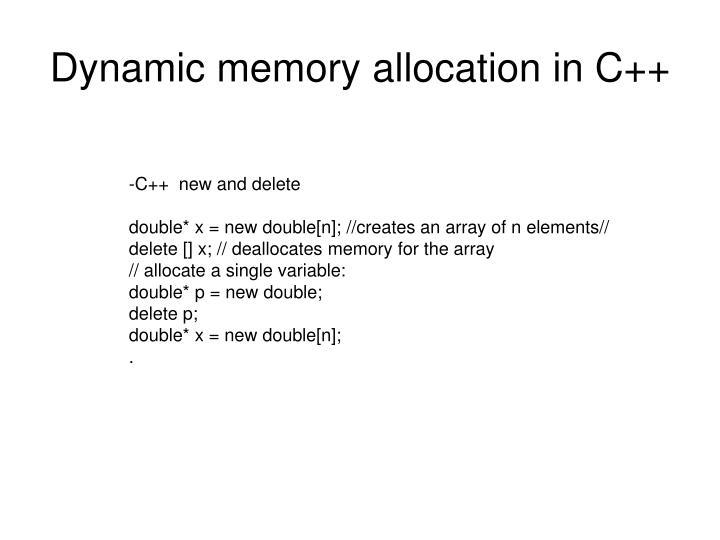 Dynamic memory allocation in C++