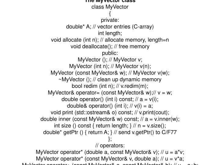 The MyVector class