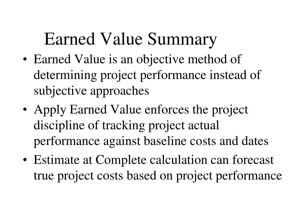Earned Value Summary