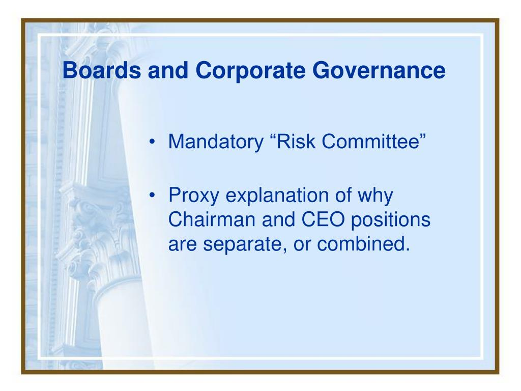 Boards and Corporate Governance