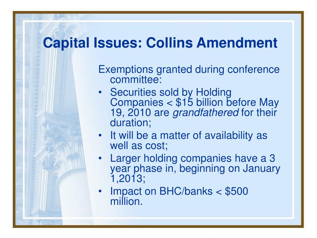 Capital Issues: Collins Amendment