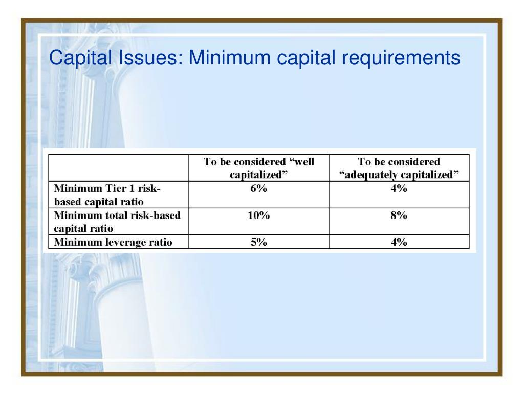 Capital Issues: Minimum capital requirements
