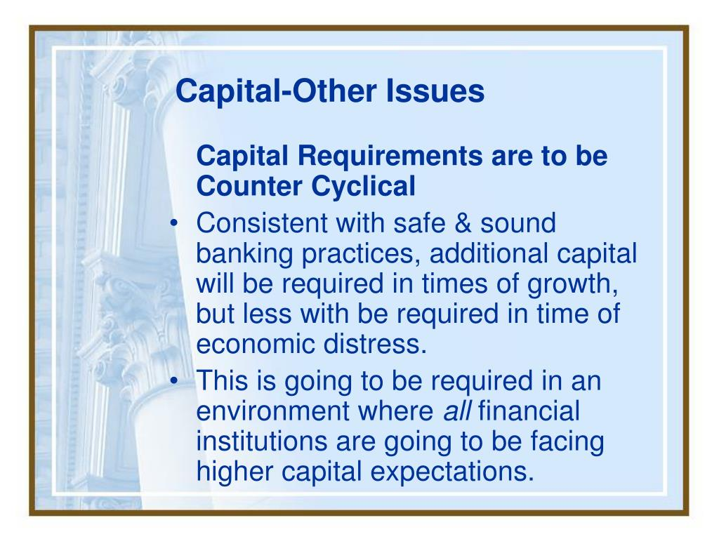 Capital-Other Issues
