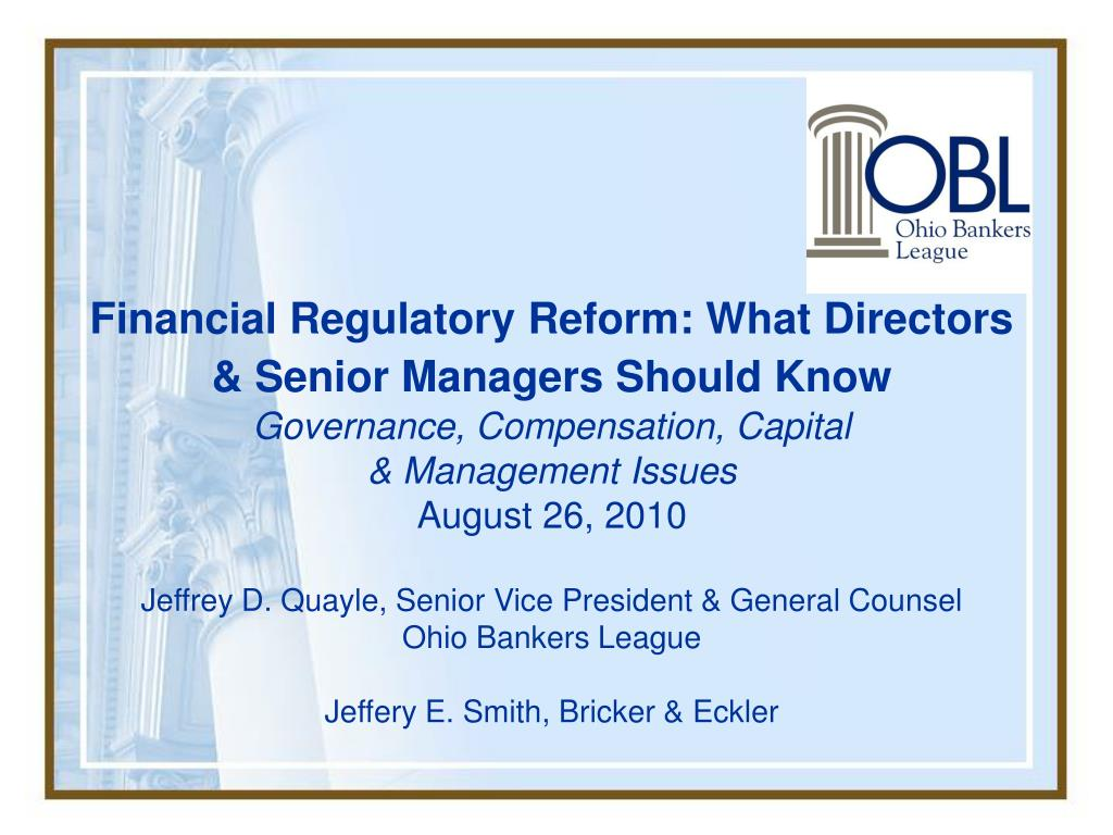 Financial Regulatory Reform: What Directors & Senior Managers Should Know