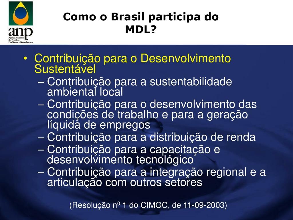 Como o Brasil participa do MDL?