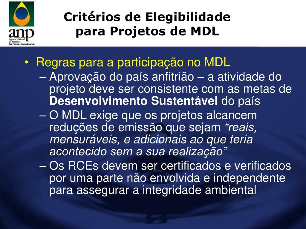 Critérios de Elegibilidade para Projetos de MDL