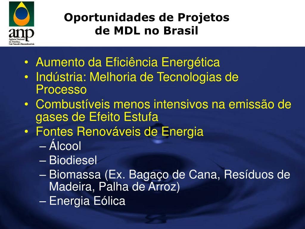 Oportunidades de Projetos de MDL no Brasil