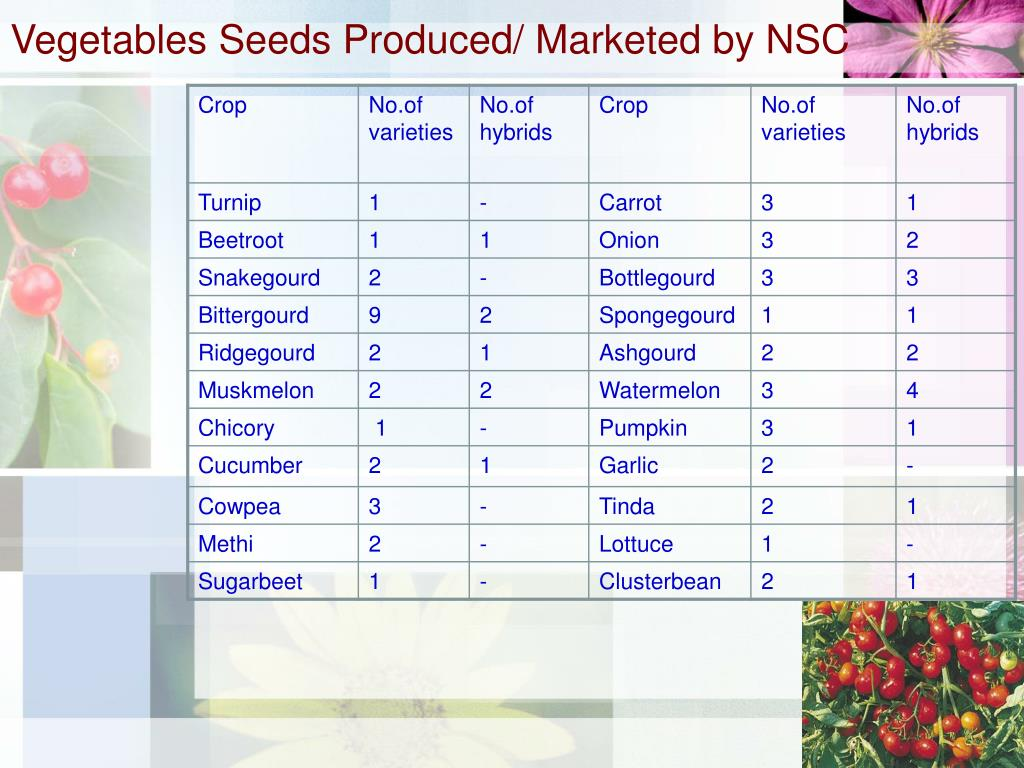 Vegetables Seeds Produced/ Marketed by NSC