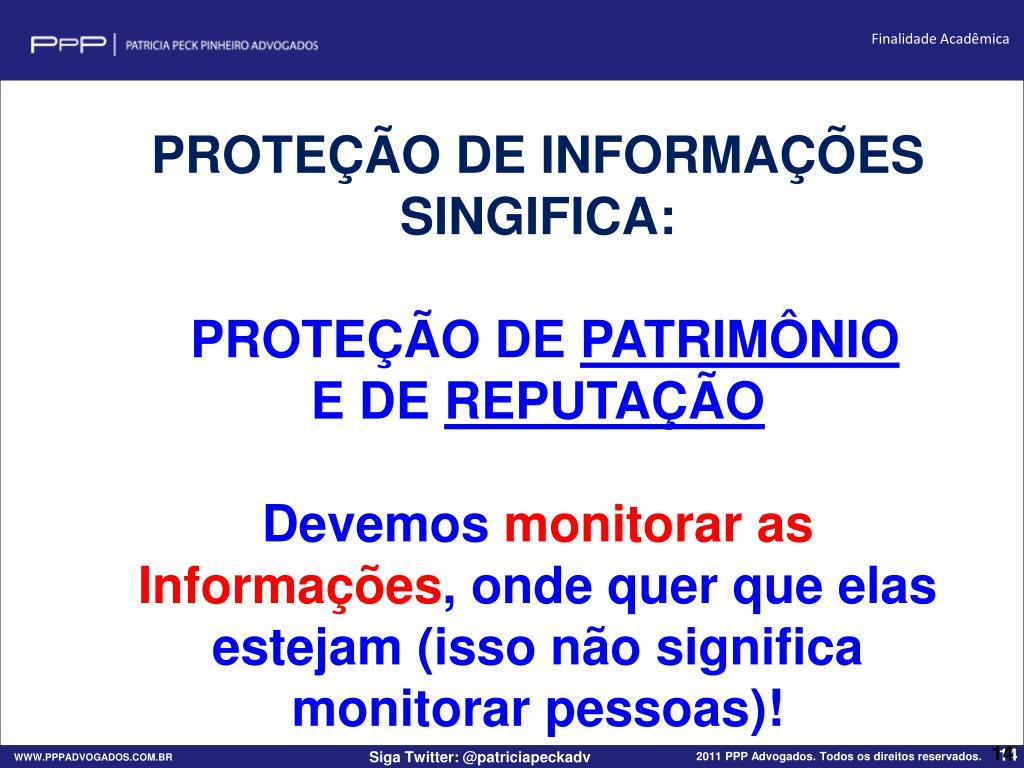PROTEÇÃO DE INFORMAÇÕES SINGIFICA: