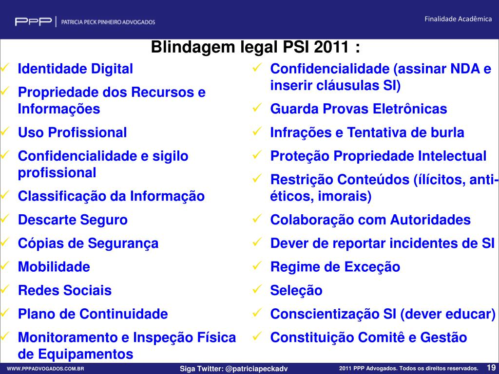Blindagem legal PSI 2011 :