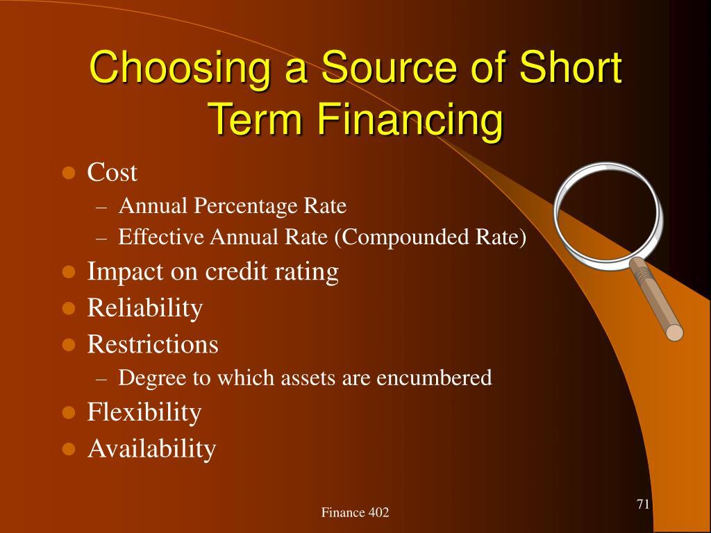 Choosing a Source of Short Term Financing