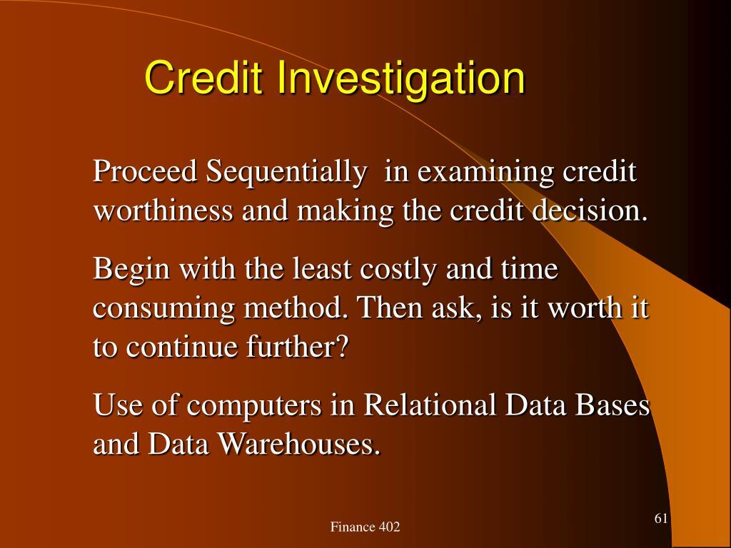 Credit Investigation