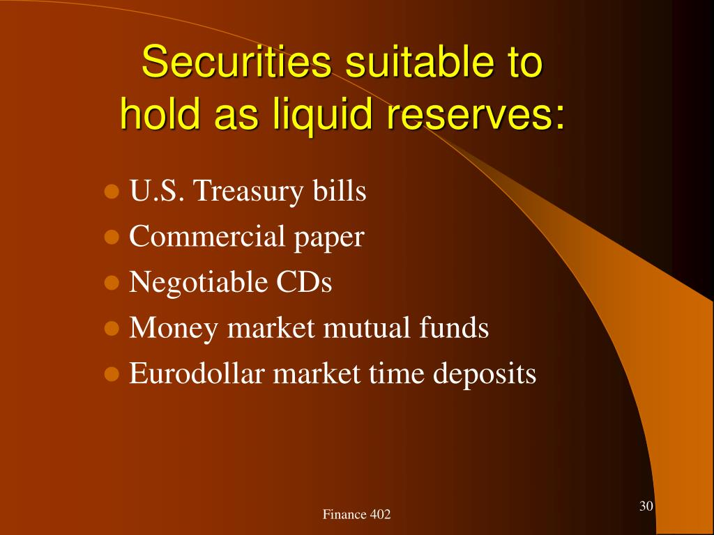 Securities suitable to hold as liquid reserves: