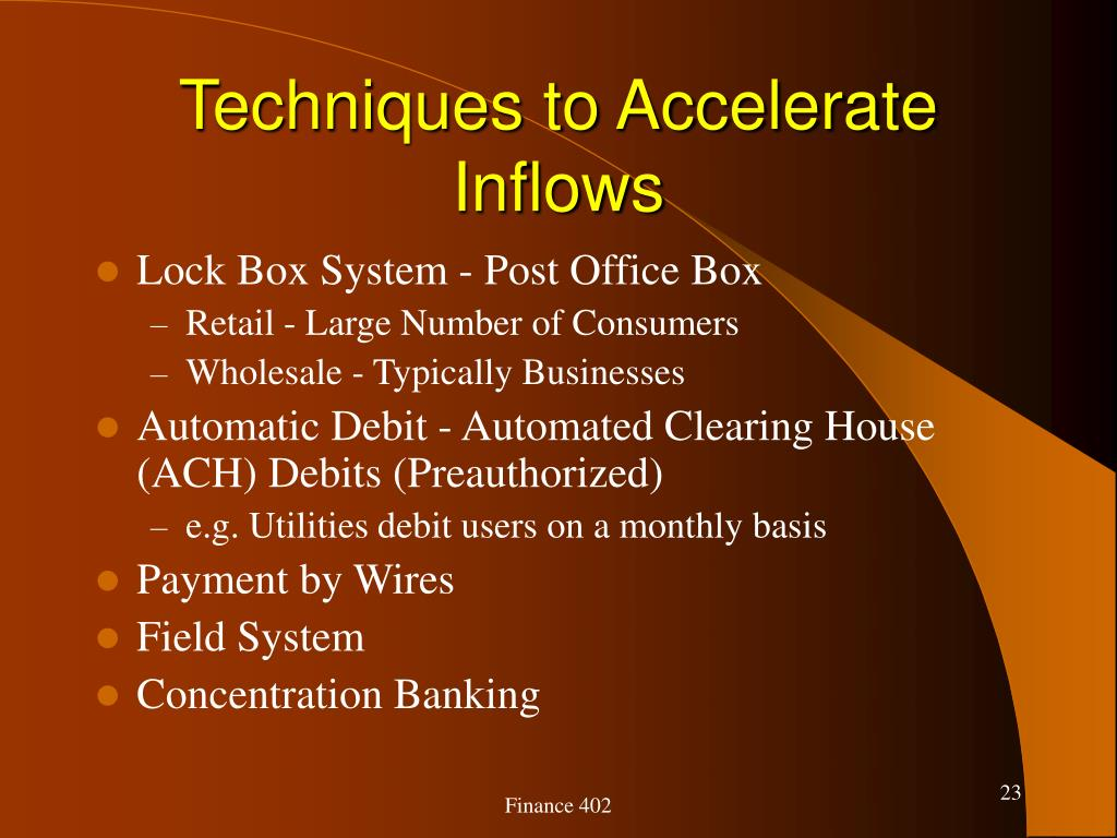 Techniques to Accelerate Inflows