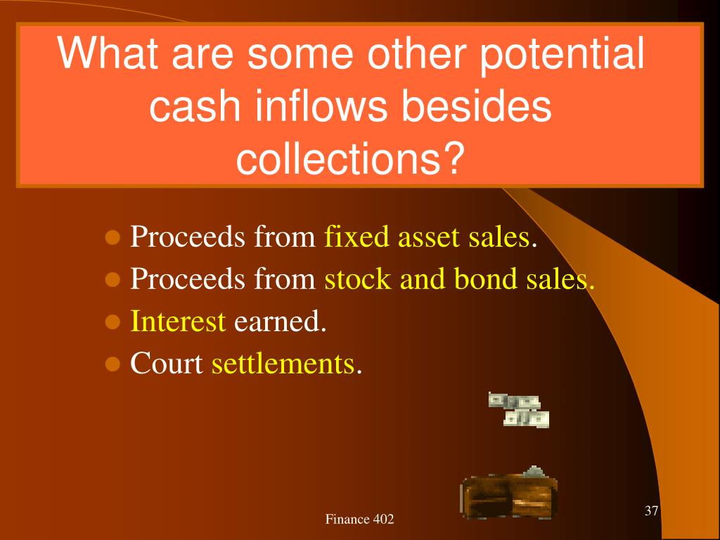 What are some other potential cash inflows besides collections?