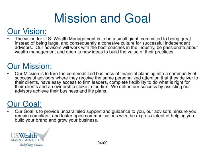 Mission and goal l.jpg