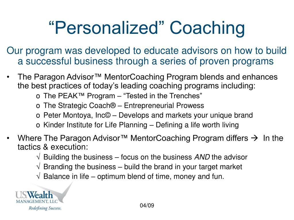 """Personalized"" Coaching"