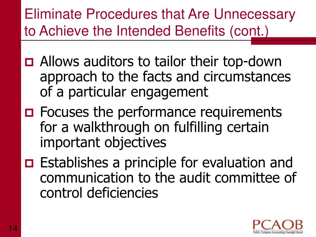 Eliminate Procedures that Are Unnecessary to Achieve the Intended Benefits (cont.)