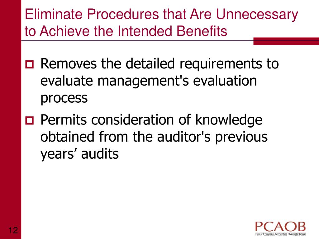 Eliminate Procedures that Are Unnecessary to Achieve the Intended Benefits