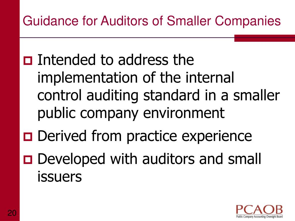 Guidance for Auditors of Smaller Companies