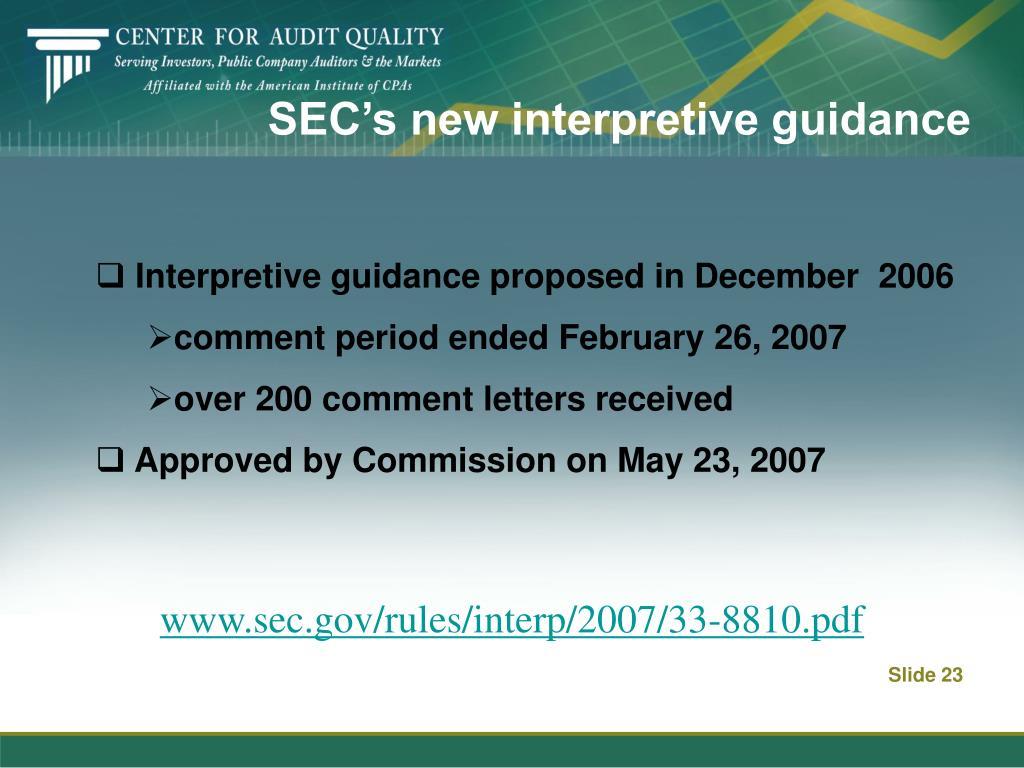 SEC's new interpretive guidance